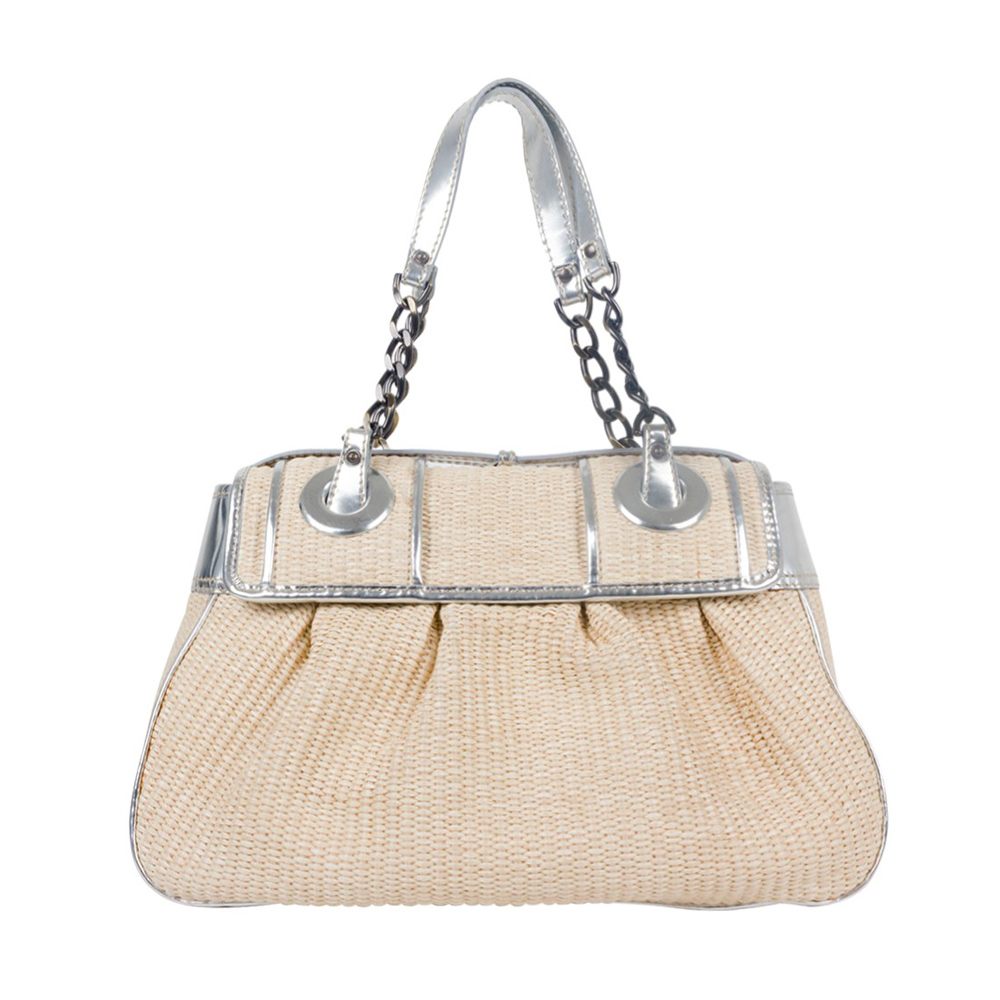 9fab7814d3b FENDI RAFFIA AND METALLIC LEATHER TRIM B BAG -