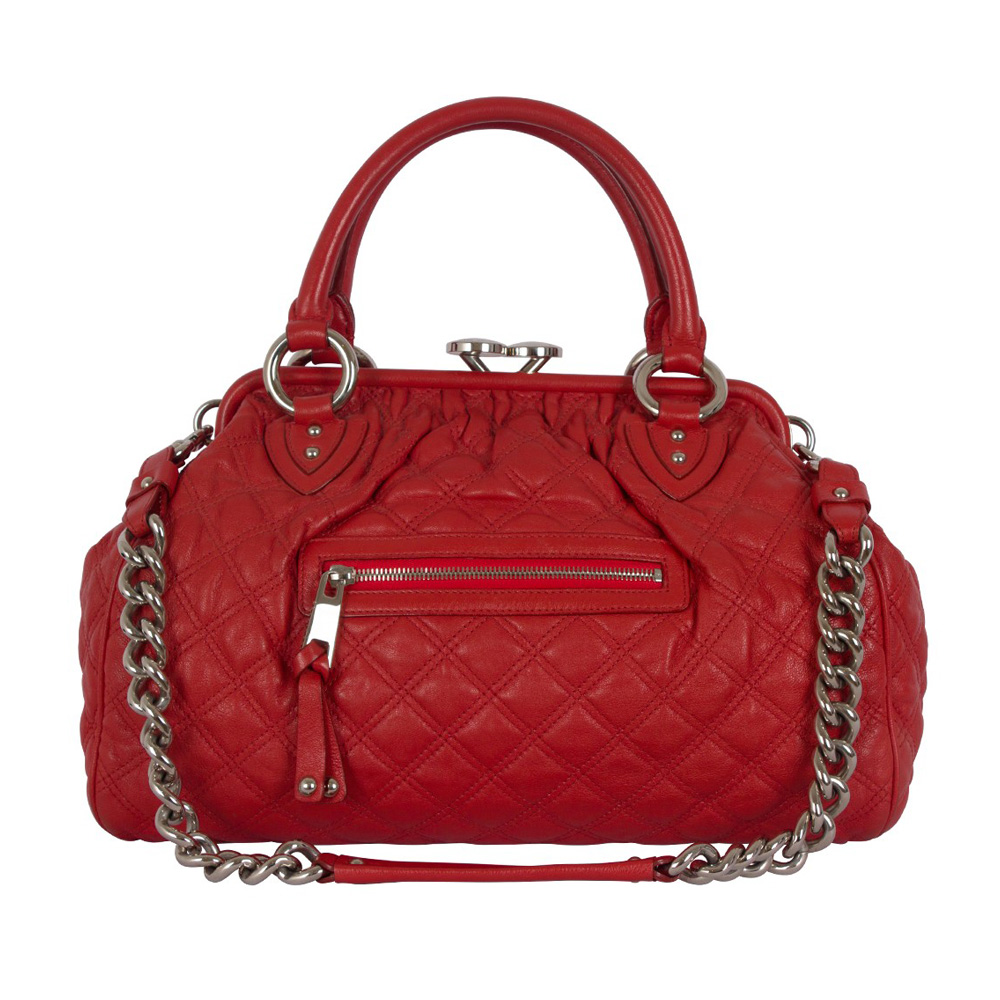 d75811c6f21 MARC JACOBS RED QUILTED LEATHER STAM BAG -