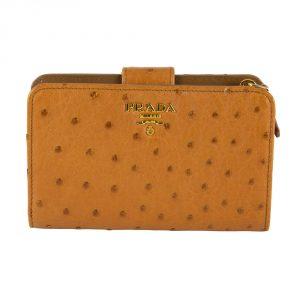 My Luxury Bargain Shop Authentic PRADA OSTRICH LEATHER BI FOLD WALLET in India