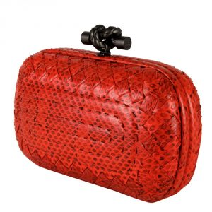 Shop pre owned luxury designer clutches online India My Luxury Bargain Bottega Veneta Red Intrecciato Python Leather Knot Clutch