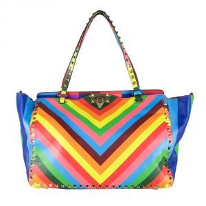 Shop Valentino Online India My Luxury Bargain Valentino Limited Edition Multicolor 1973 Medium Rockstud Tote 2