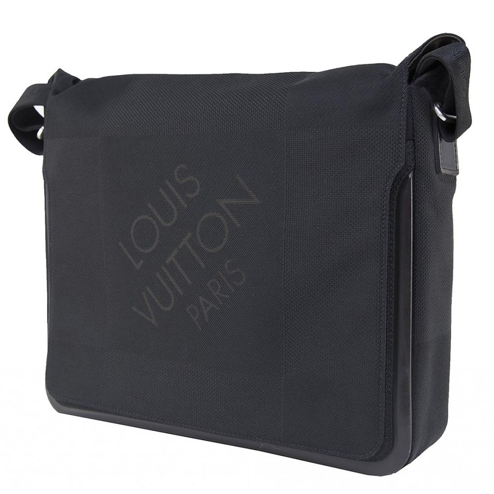 bc93b1be68a LOUIS VUITTON BLACK DAMIER GEANT CANVAS MESSENGER BAG -