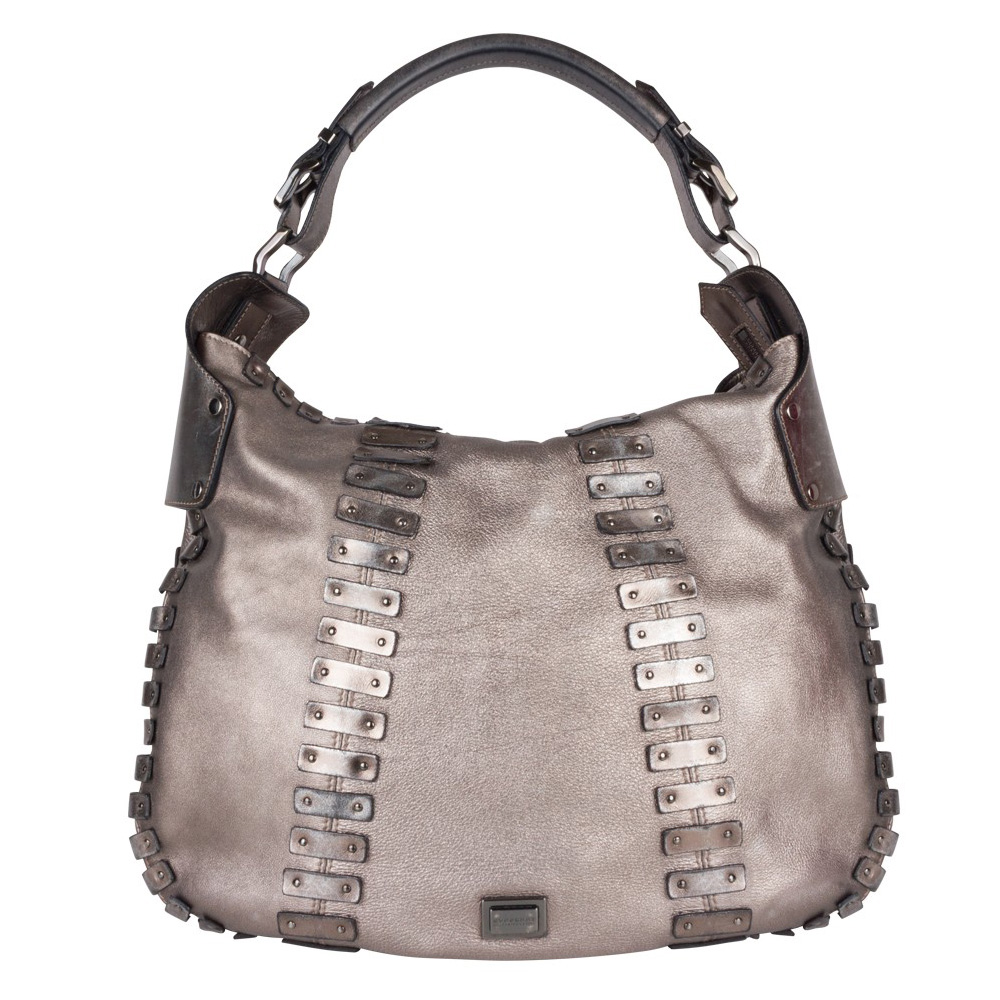 3b52a3ae16e BURBERRY METALLIC GREY LEATHER STUDDED STITCHED DETAIL HOBO -