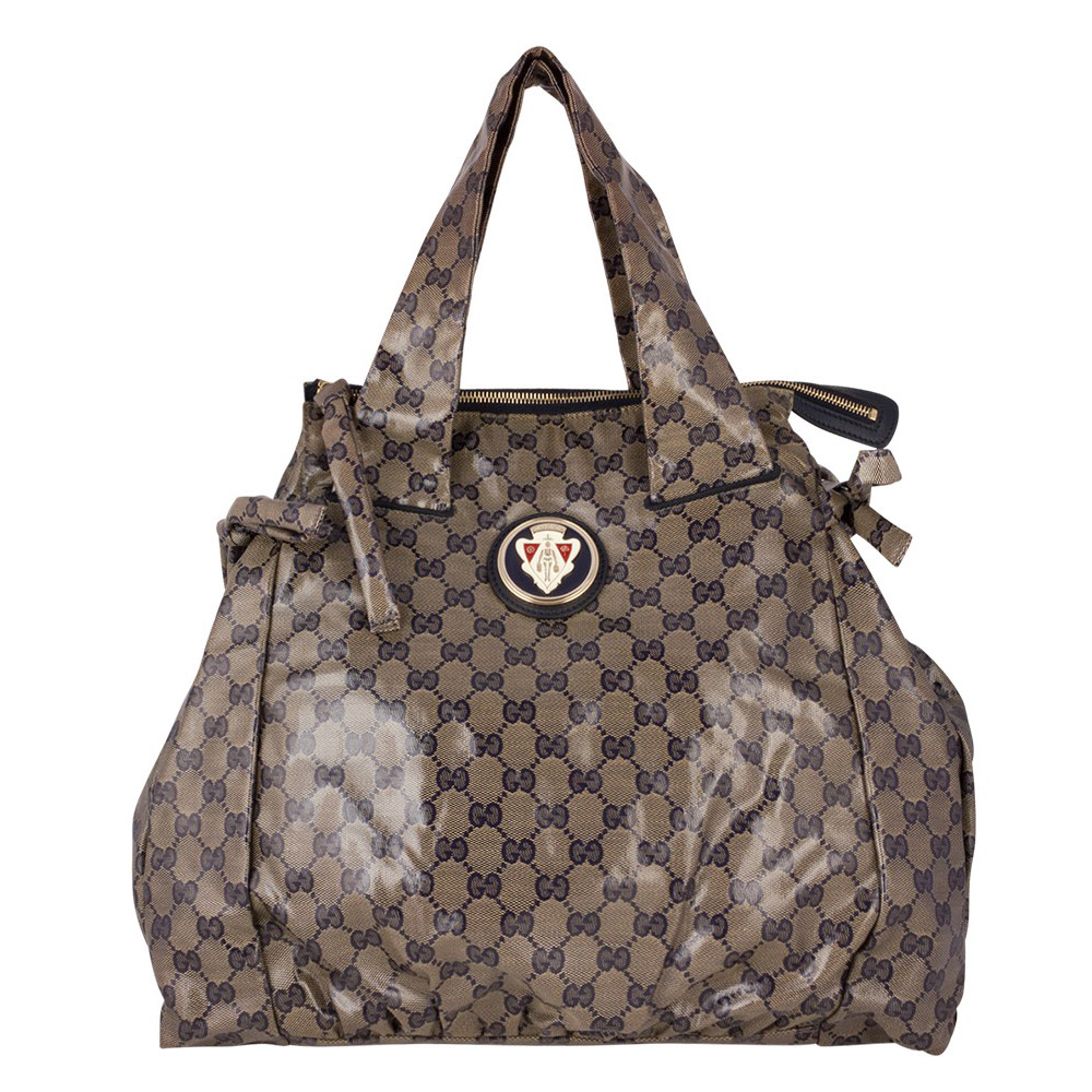 1ca0389cc5 GUCCI BEIGE/BLUE GG CRYSTAL COATED CANVAS LARGE HYSTERIA TOTE -