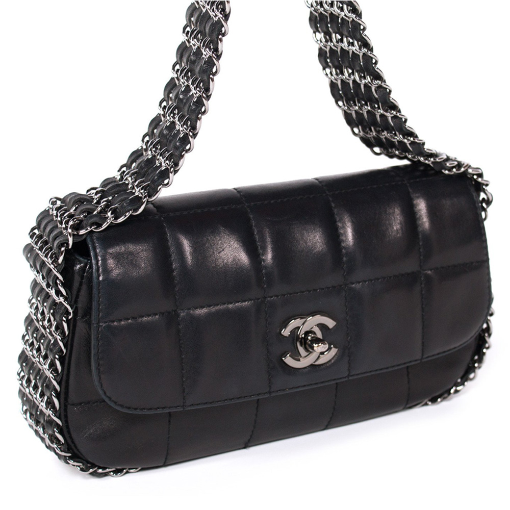 9a5fb42bddf0 CHANEL BLACK QUILTED LEATHER MINI MULTICHAIN FLAP BAG