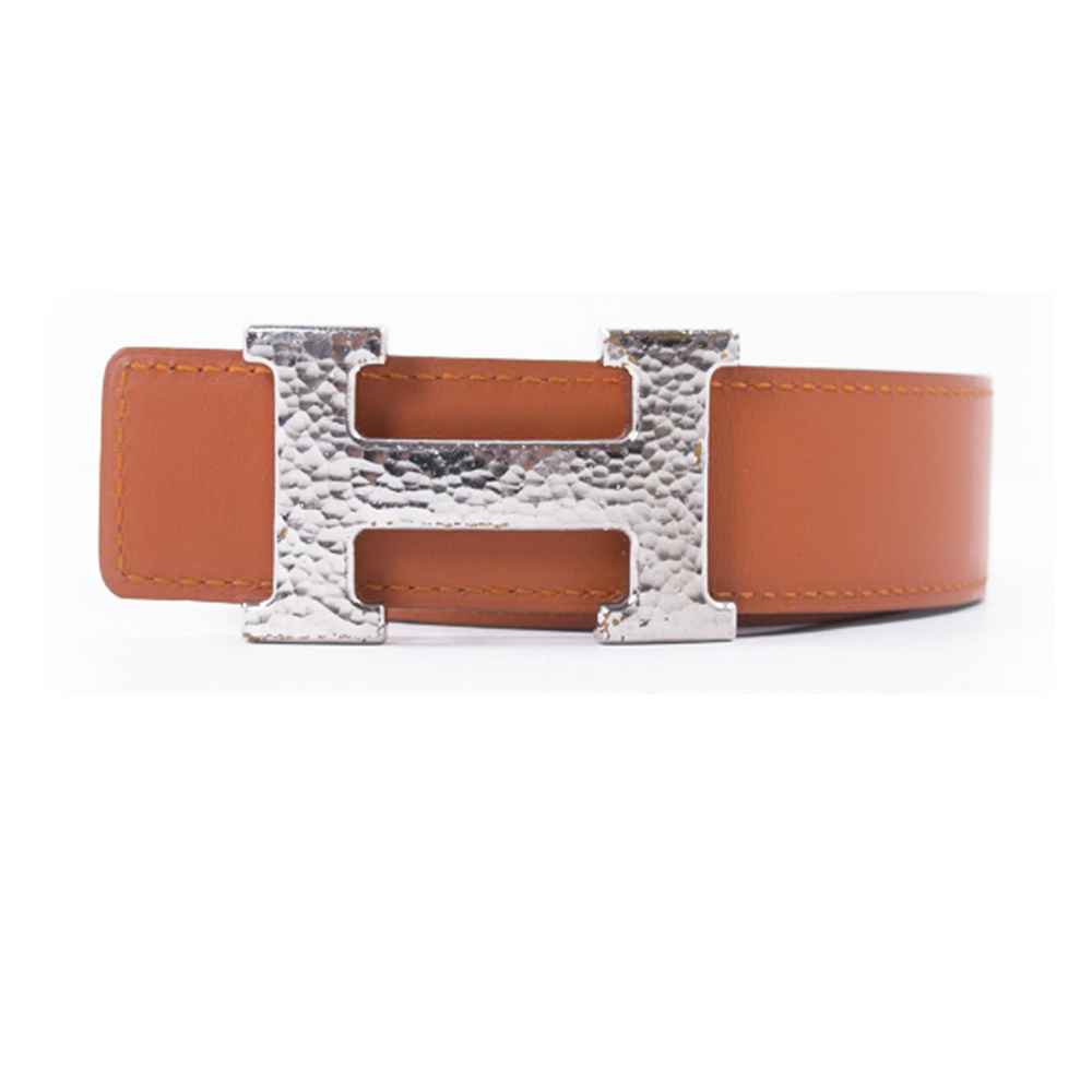86b6b5c5da1 HERMES ORANGE WHITE H BUCKLE REVERSIBLE BELT -