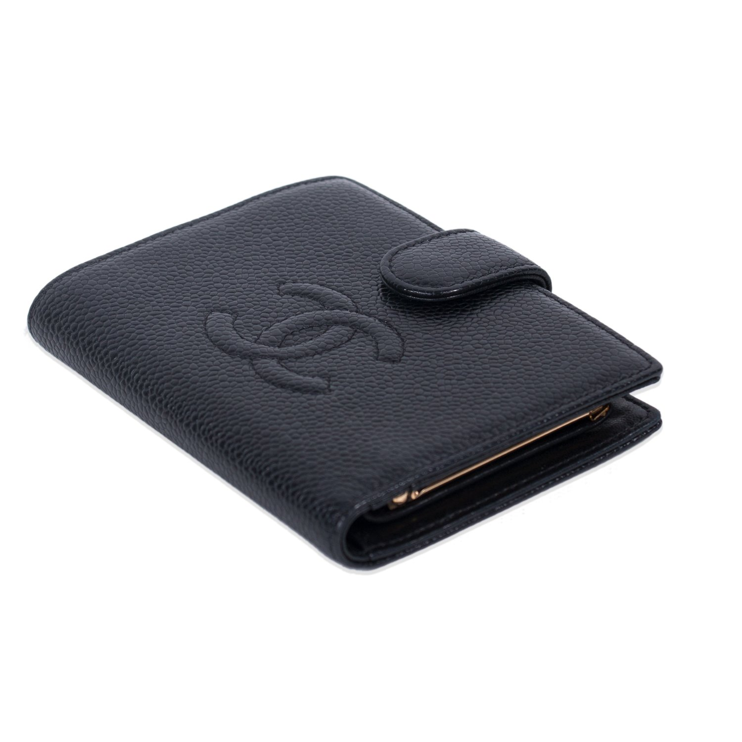 ed2af223e48 CHANEL BLACK CAVIAR LEATHER CC COMPACT WALLET -