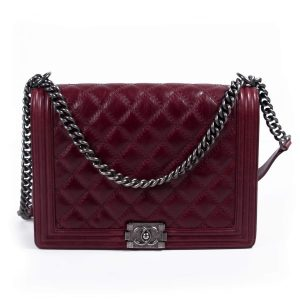6779f4840e0c 1,240$; Chanel Large Burgundy Quilted Leather Large Boy Bag